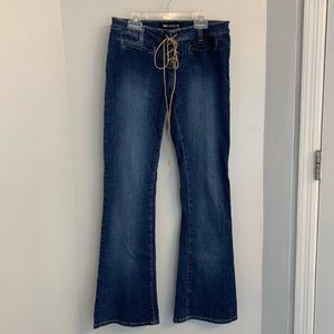 Blue Asphalt lace up flare wide leg jeans